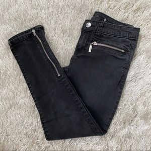JLo Faded Black Skinny Ankle Stretch Zipper Jeans